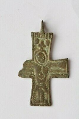 Early Byzantine bronze cross Jesus Christ crucified 5th century AD