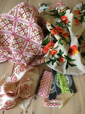 BEAUTIFUL ANTIQUE/VINTAGE FRENCH COTTON FABRIC BUNDLE And TRIMS