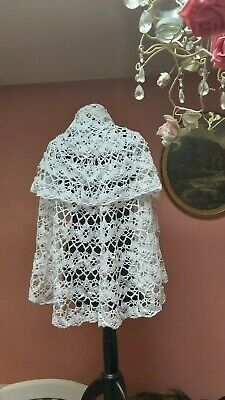 VINTAGE LACE SHAWL WHITE COTTON TABLECLOTH HOME DECOR HANDMADE shabby chic
