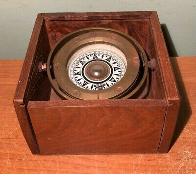 Vintage Brass Mariner Compass In Covered Wood Box Fun Kee Hong Kong