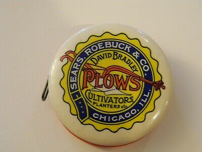 Vintage Farm Advertising David Bradley Plows Tape Measure Sears Roebuck