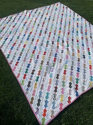 """Vtg Hand Stitched Bow Tie Hand Made Cotton Quilt 72""""x 82"""""""