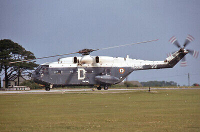 Original 35mm Aircraft slide 122  French Navy SA 321G Super Frelon Culdrose 1979