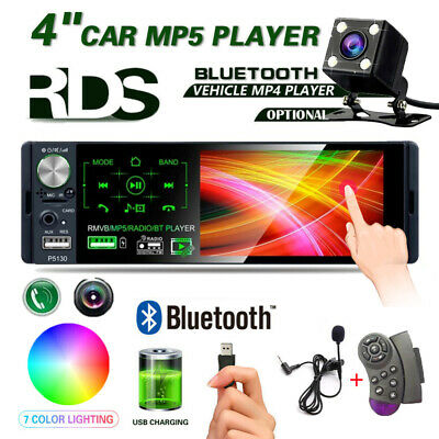 "Single 1 DIN  Car Stereo 4.1"" Radio MP5 Player RDS Bluetooth Touch Screen +MIC"