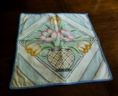Charming Vintage Pillow Cover~ Handmade Embroidered Flowers in Vase