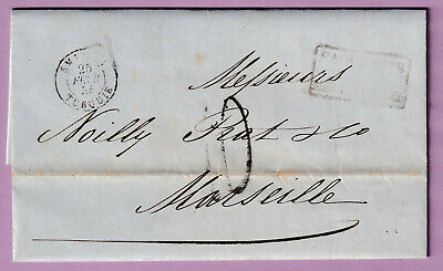 Smyrne Turquie Turkey 1855 Bfe Marseille Taxe 10 Tampon Lettre Cover