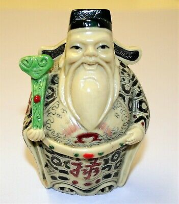 """Vintage Miniature Chinese Lucky God Sculpture Hand Painted Ivorine Polymer 4"""" m5"""