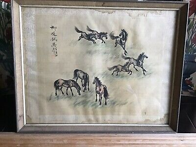 Antique Chinese Horse Painting On Silk Fabric