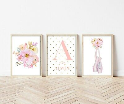 3 Ballerina Ballet Shoes Personalised Prints Nursery Wall Art Girls Pictures