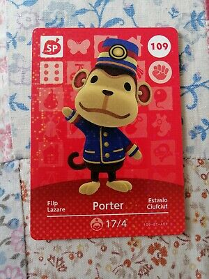 Porter 109 - Official Animal Crossing Amiibo Card Series 2 New Horizons Mint