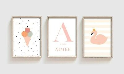 3 Swan Ice Cream Personalised Prints Nursery Wall Art Decor Girls Pictures