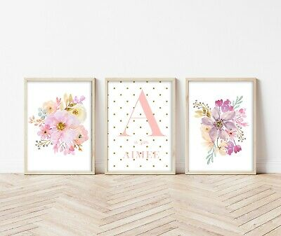 3 Flower Bouquet Personalised Prints Nursery Wall Art Decor Girls Pictures