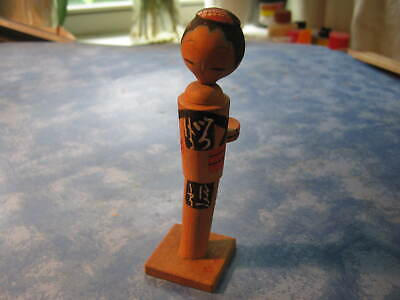 VINTAGE HANDMADE JAPANESE WOODEN KOKESHI DOLL Unique Design Signed by Artist