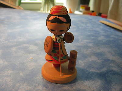 VINTAGE HANDMADE JAPANESE WOODEN KOKESHI GIRL'S DAY DOLL Signed by Artist