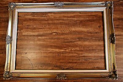 """Vintage Gold with Linen Liner 36"""" x 24"""" Picture Frame"""