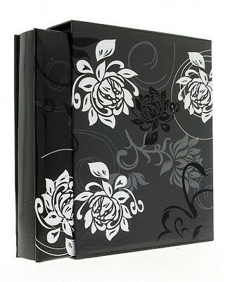 "Black Flowers Slip In Photo Album In Box Holds 500 6"" x 4"" Photos Memories Gift"
