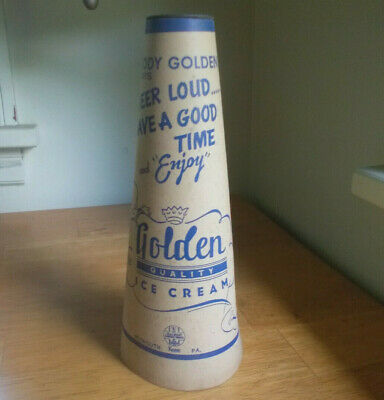 1930s PLYMOUTH,PA CARDBOARD MEGAPHONE ADVERTISING GOLDEN QUALITY ICE CREAM