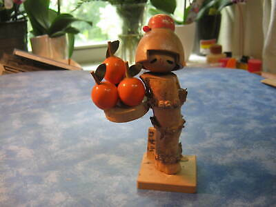 VINTAGE HANDMADE JAPANESE WOODEN KOKESHI GIRL WITH ORANGES DOLL Signed by Artist