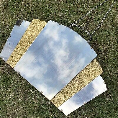 Antique 1920 ART DECO MIRROR fan wall gold crackle glass