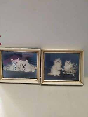 Vintage Mid Century Pair of Kitten Cat Framed Print Signed Currey 1942