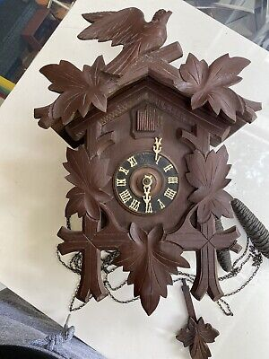 Vintage Wooden German CUCKOO CLOCK With Pendulum & Weights - Best For Parts