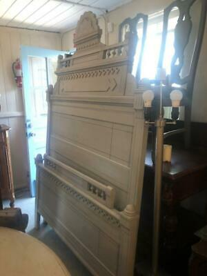 Antique American Queen Bed Hand Painted in Gray Color.