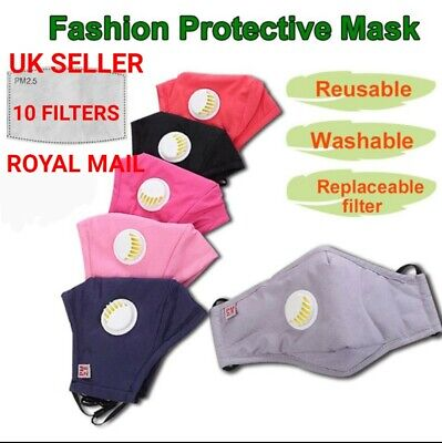 *UK STOCK* 10 Filters + 1 Breathable Washable Face Mask Valve Cotton GREY