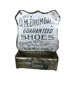 Tin Advertising Match Holder D. M. Brumbach's Shoes