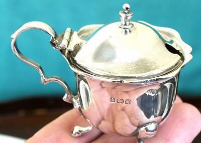 MAPPIN & WEBB Solid Silver Three Footed Mustard Pot + Liner - Birmingham 1925