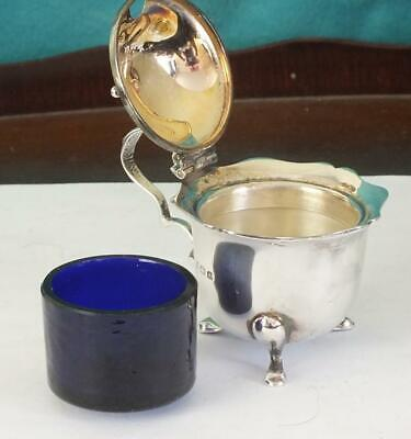 MAPPIN & WEBB Solid Silver Three Footed Mustard Pot & Liner - Birmingham 1925