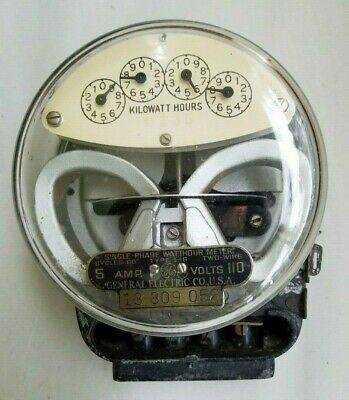 Vintage General Electric Type I-16 Watthour Meter - 5 Amp.