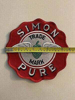 Giant 9  Inch Simon Pure Beer & Ale Buffalo Ny  Embroidered Patch New Old Stock