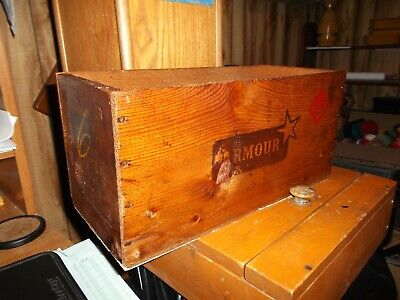 Vintage Armour & Company Wooden Box Shipping Crate Armour Corned Beef