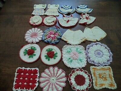 Lot of 20 VINTAGE CROCHET  POTHOLDERS