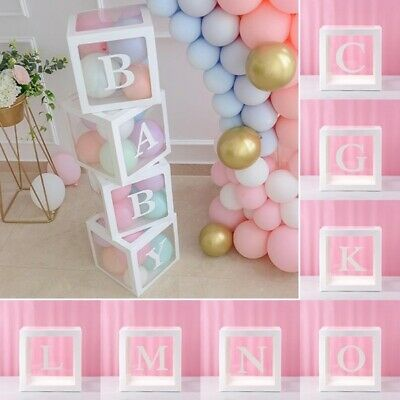 A-Z White Letter Transparent Boxes Packing Wedding Baby Shower Party Decoration