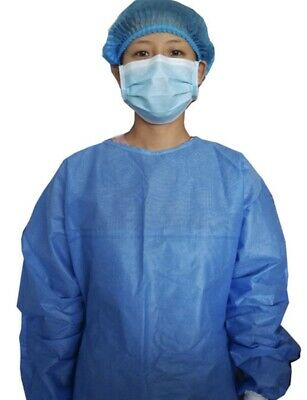 5 Pack / HEAVY Non-woven Surgical Gown  Disposable Suit *SAME DAY SHIPPING*