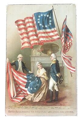 Vintage Patriotic Postcard - Betsy Ross Making the First Flag