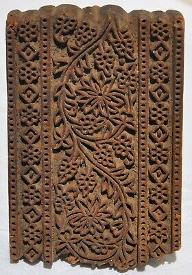 Antique Wood Block Hand-carved Textile Printing Fabric Wallpaper Stamp Primitive