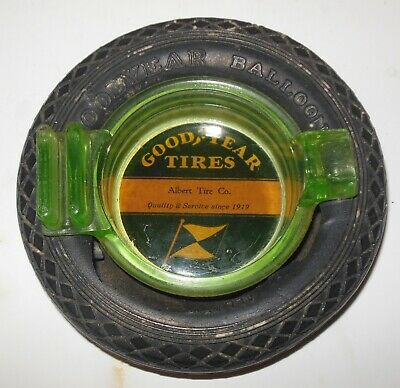 Vintage Goodyear Green Glass Insert for Goodyear Tire Ashtray
