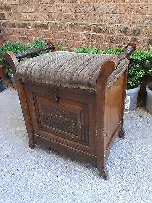 Antique Piano Stool With Storage Cabinet