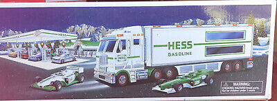 2003 Hess Toy Truck & Race Cars Tractor Truck With Trailer New In Box
