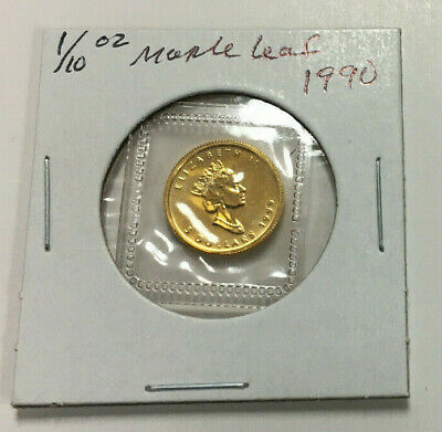 1990 CANADA 1/10-Ounce .9999 FINE GOLD $5 Maple Leaf in UNCIRCULATED Condition!
