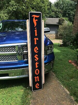 """FIRESTONE"" LARGE EMBOSSED METAL SIGN, (71""x 15"") NICE CONDITION"