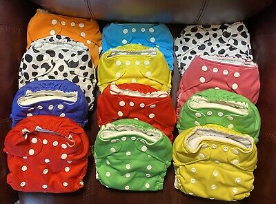 Coqui Baby Cloth Pocket Diapers Lot Of 12 With Liners Fits 7-38 lbs