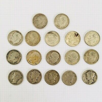 17 Silver Dimes - 12 Roosevelt, 5 Mercury. Some Are Really Nice!
