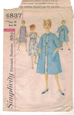 Vintage 50s Dress Swing Coat Maternity Simplicity 4837 Sewing DIY Modest