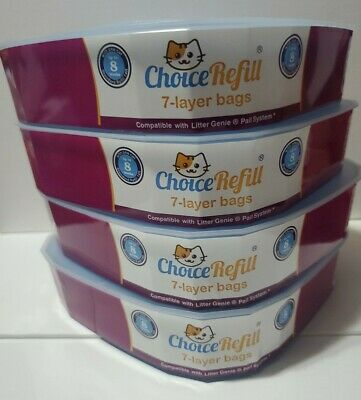 4 Pack ChoiceRefill Compatible W/ Litter Genie Pail System Bags Refills$