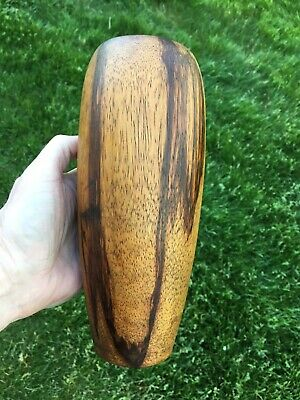 "Signed Arts & Crafts Mission Era Turned Wood 9"" Vase Figured Walnut Wooden Treen"