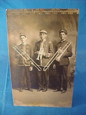Early 20thc REAL PHOTO Postcard BAND MUSICIANS w TRUMPET + TROMBONES Instrument