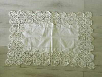 Antique European Linen Table Runner Hand Crocheted Lace 35 X 24 Inches